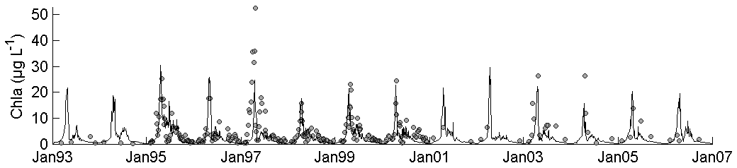 Modelled chlorophyll a time series at station 330 over the period 1993-2006